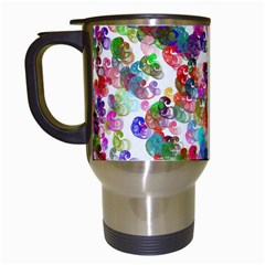 Colorful Spirals On A White Background             Travel Mug (white) by LalyLauraFLM