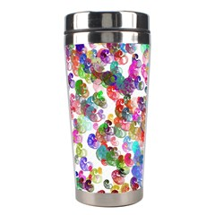 Colorful spirals on a white background             Stainless Steel Travel Tumbler
