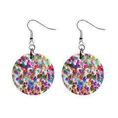 Colorful spirals on a white background             1  Button Earrings