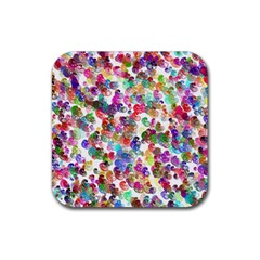Colorful spirals on a white background             Rubber Square Coaster (4 pack