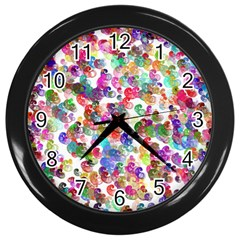 Colorful spirals on a white background             Wall Clock (Black)