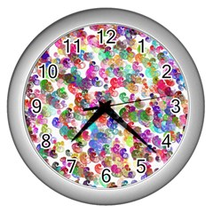 Colorful spirals on a white background             Wall Clock (Silver)