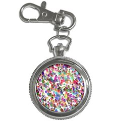 Colorful spirals on a white background             Key Chain Watch