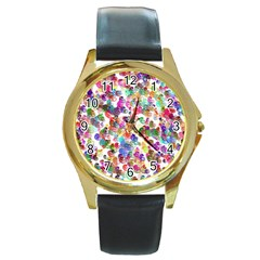 Colorful spirals on a white background             Round Gold Metal Watch