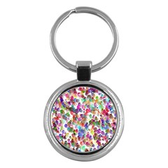 Colorful spirals on a white background             Key Chain (Round)