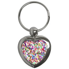 Colorful spirals on a white background             Key Chain (Heart)