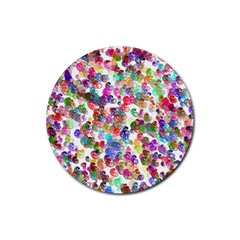 Colorful spirals on a white background             Rubber Coaster (Round)