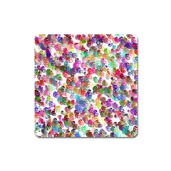 Colorful spirals on a white background             Magnet (Square)