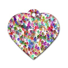 Colorful spirals on a white background             Dog Tag Heart (One Side)