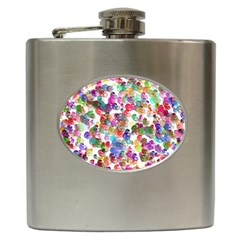 Colorful spirals on a white background             Hip Flask (6 oz)
