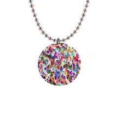 Colorful spirals on a white background             1  Button Necklace