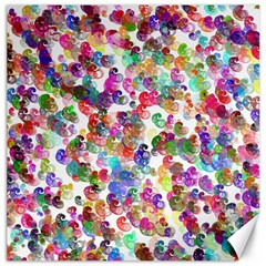 Colorful spirals on a white background             Canvas 16  x 16