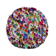 Colorful spirals on a white background       Standard 15  Premium Flano Round Cushion