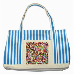 Colorful spirals on a white background             Striped Blue Tote Bag