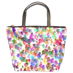 Colorful spirals on a white background        Bucket Bag