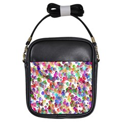 Colorful spirals on a white background             Girls Sling Bag
