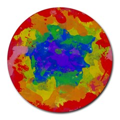 Colorful Paint Texture           Round Mousepad by LalyLauraFLM