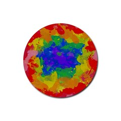 Colorful Paint Texture           Rubber Coaster (round) by LalyLauraFLM