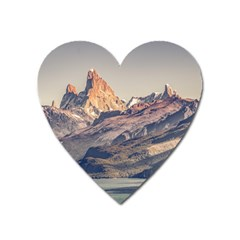 Fitz Roy And Poincenot Mountains Lake View   Patagonia Heart Magnet by dflcprints