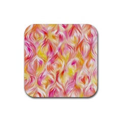 Pretty Painted Pattern Pastel Rubber Coaster (square)  by Nexatart