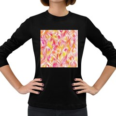 Pretty Painted Pattern Pastel Women s Long Sleeve Dark T Shirts by Nexatart