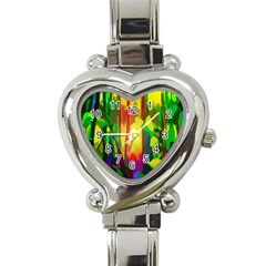 Abstract Vibrant Colour Botany Heart Italian Charm Watch by Nexatart