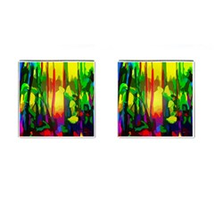 Abstract Vibrant Colour Botany Cufflinks (square) by Nexatart