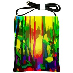 Abstract Vibrant Colour Botany Shoulder Sling Bags by Nexatart