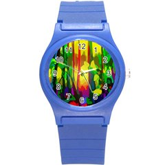 Abstract Vibrant Colour Botany Round Plastic Sport Watch (s) by Nexatart