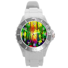 Abstract Vibrant Colour Botany Round Plastic Sport Watch (l)
