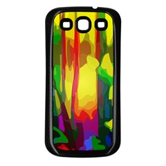 Abstract Vibrant Colour Botany Samsung Galaxy S3 Back Case (black) by Nexatart