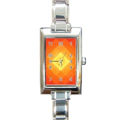 Pattern Retired Background Orange Rectangle Italian Charm Watch by Nexatart