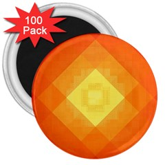 Pattern Retired Background Orange 3  Magnets (100 Pack) by Nexatart