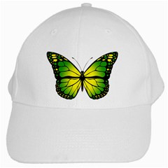Green Butterfly White Cap by linceazul