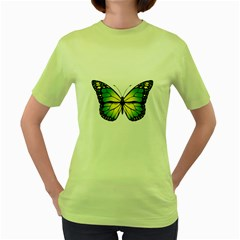 Green Butterfly Women s Green T Shirt by linceazul