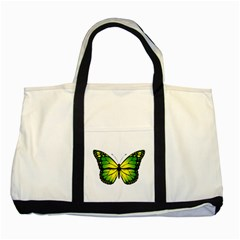 Green Butterfly Two Tone Tote Bag by linceazul