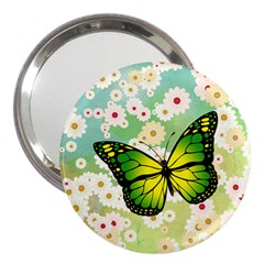 Green Butterfly 3  Handbag Mirrors by linceazul