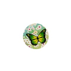 Green Butterfly 1  Mini Buttons by linceazul
