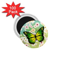 Green Butterfly 1 75  Magnets (100 Pack)  by linceazul
