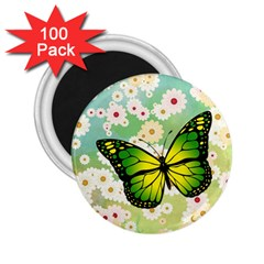 Green Butterfly 2 25  Magnets (100 Pack)  by linceazul