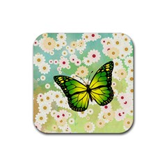 Green Butterfly Rubber Coaster (square)  by linceazul