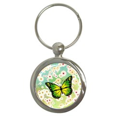 Green Butterfly Key Chains (round)  by linceazul