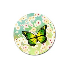 Green Butterfly Magnet 3  (round) by linceazul