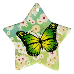 Green Butterfly Star Ornament (two Sides) by linceazul