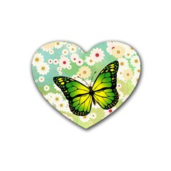 Green Butterfly Rubber Coaster (heart)  by linceazul