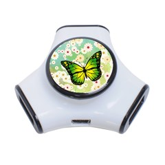 Green Butterfly 3 Port Usb Hub by linceazul