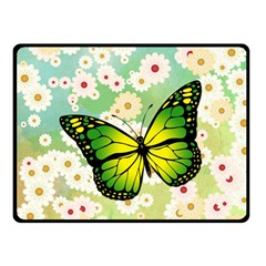 Green Butterfly Double Sided Fleece Blanket (small)  by linceazul