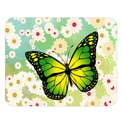 Green Butterfly Double Sided Flano Blanket (large)  by linceazul