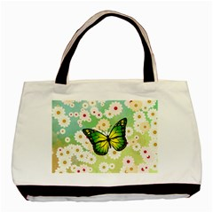 Green Butterfly Basic Tote Bag (two Sides) by linceazul