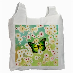 Green Butterfly Recycle Bag (one Side) by linceazul